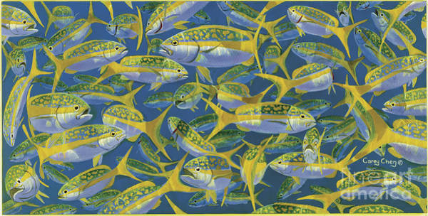 Reel Painting - Yellowtail Frenzy In0023 by Carey Chen