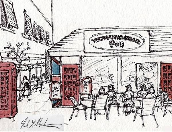 Painting - Yeoman's Road Pub Sketch by Frank Hunter