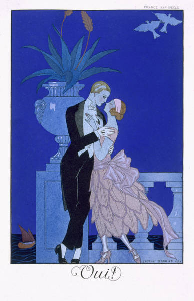 Blue Dress Painting - Yes by Georges Barbier