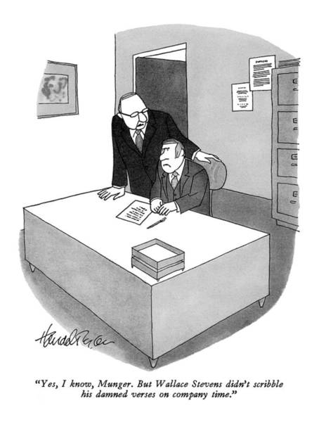 Boss Drawing - Yes, I Know, Munger. But Wallace Stevens Didn't by J.B. Handelsman