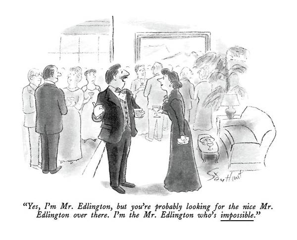 Checker Drawing - Yes, I'm Mr. Edlington, But You're Probably by Stan Hunt