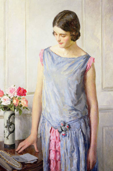 Blue Dress Painting - Yes Or No by William Henry Margetson