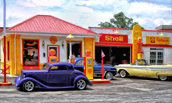 Antic Wall Art - Painting - Yesterday's Shell Station by Michael Pickett