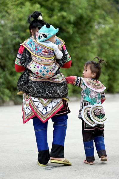 Ethnic Minority Photograph - Yi Woman With Children by Tony Camacho