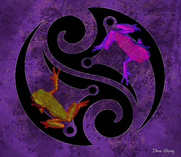 Wall Art - Digital Art - Yin And Yang Tree Frogs by Diana Shively