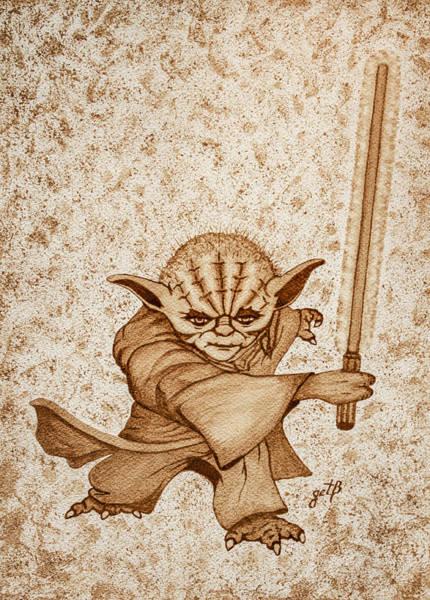 Star Wars Wall Art - Painting - Yoda Jedi Original Dark Beer Painting by Georgeta Blanaru