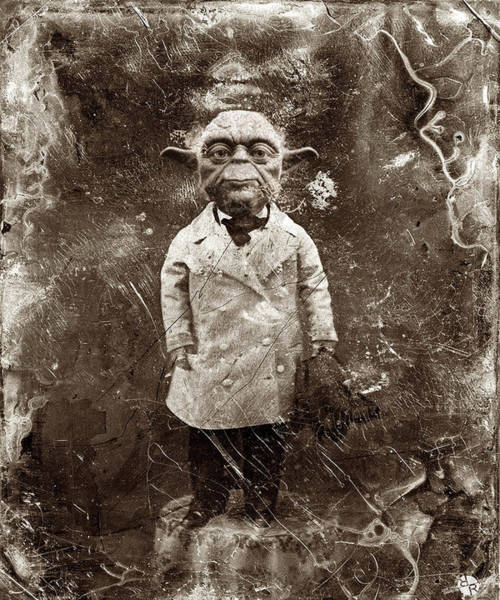 Sepia Painting - Yoda Star Wars Antique Photo by Tony Rubino