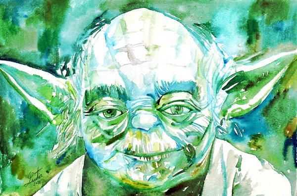 Star Wars Wall Art - Painting - Yoda Watercolor Portrait by Fabrizio Cassetta