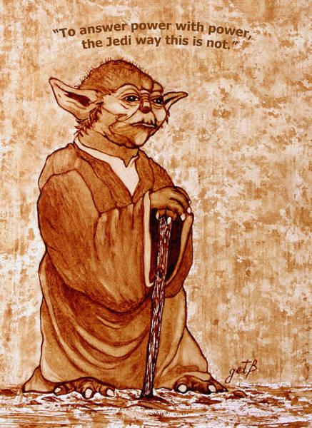 Painting - Yoda Wisdom Original Coffee Painting by Georgeta Blanaru