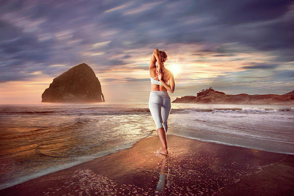 Wall Art - Photograph - Yoga At Haystack Rock by Linked Ring Photography