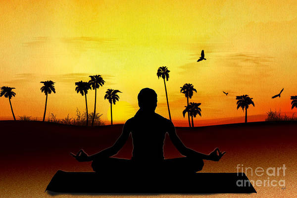 Relaxation Digital Art - Yoga At Sunrise by Peter Awax