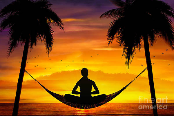 Standing Digital Art - Yoga At Sunset by Peter Awax
