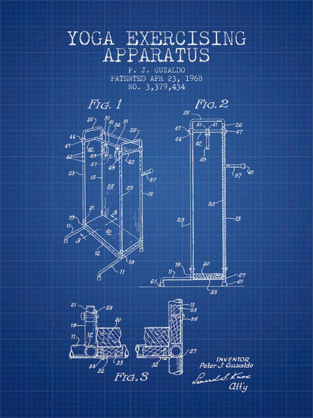 Wall Art - Digital Art - Yoga Exercising Apparatus Patent From 1968 - Blueprint by Aged Pixel