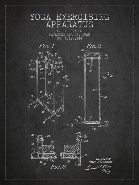 Wall Art - Digital Art - Yoga Exercising Apparatus Patent From 1968 - Charcoal by Aged Pixel