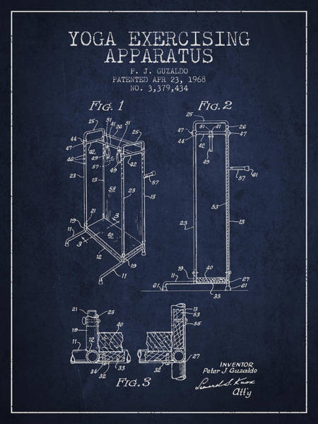 Wall Art - Digital Art - Yoga Exercising Apparatus Patent From 1968 - Navy Blue by Aged Pixel