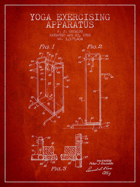 Wall Art - Digital Art - Yoga Exercising Apparatus Patent From 1968 - Red by Aged Pixel