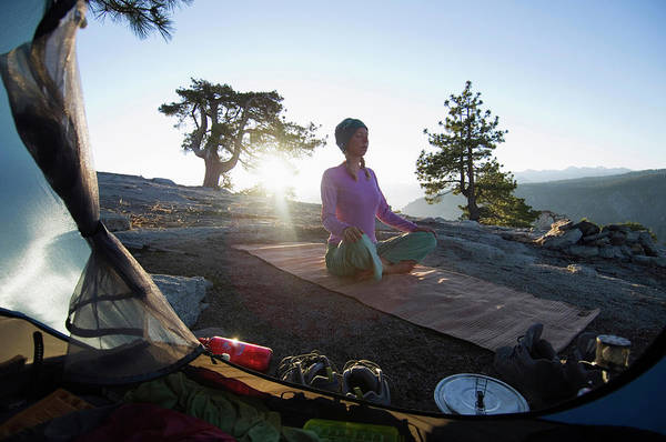 Workout Photograph - Yoga Outside Tent At Sunrise by Lars Schneider