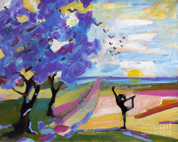 Painting - Yoga Under The Jacaranda Trees by Ginette Callaway