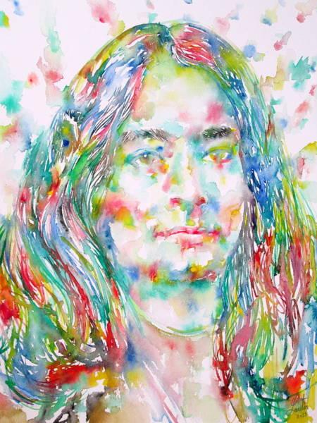 Guru Painting - Yogananda - Watercolor Portrait by Fabrizio Cassetta