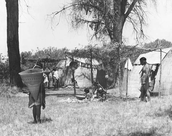 San Joaquin Valley Photograph - Yokut Indian Homes by Underwood Archives Onia