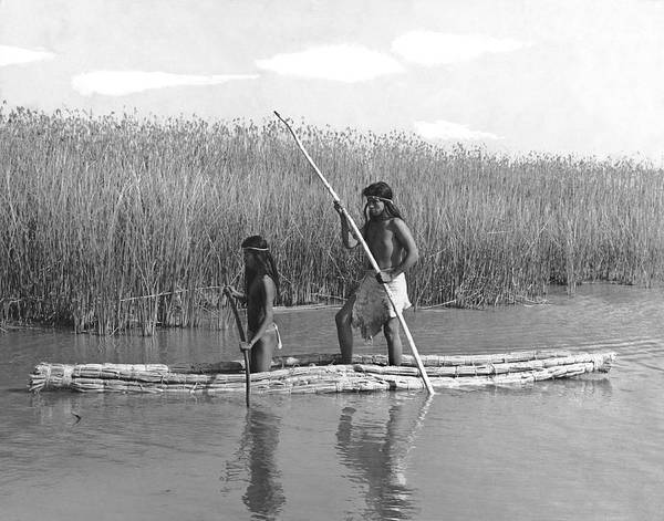 Photograph - Yokuts Poling Tule Boats by Underwood Archives Onia