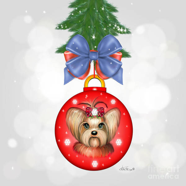 Painting - Yorkie Ornament by Catia Lee