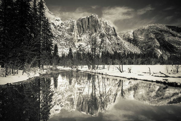 Untamed Photograph - Yosemite Falls Above The Merced River by Russ Bishop