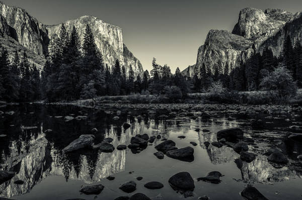 Monochrome Photograph - Yosemite National Park Valley View Reflection by Scott McGuire