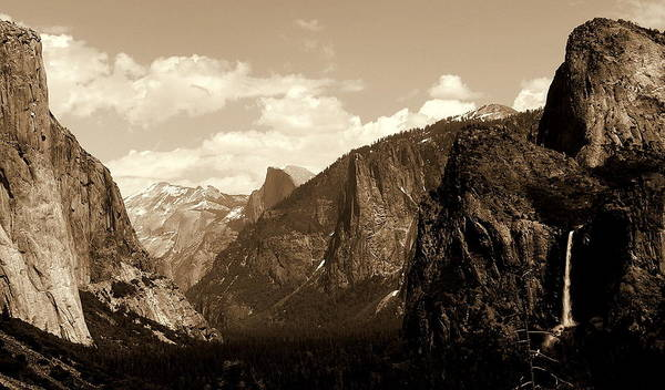 Photograph - Yosemite Tunnel View Sepia by Jeff Lowe