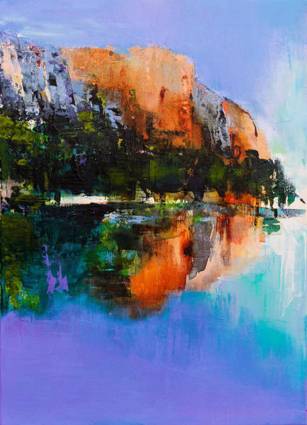 Mountain Lake Painting - Yosemite Valley by Elise Palmigiani