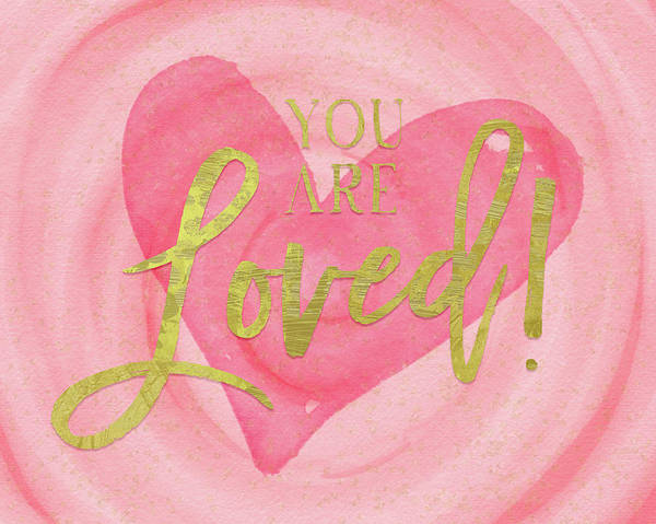 Heart Gold Painting - You Are Loved by Amy Cummings