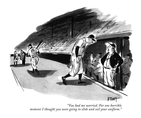 Sports Uniform Drawing - You Had Me Worried. For One Horrible Moment by Barney Tobey