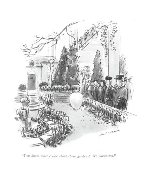 Gardener Drawing - You Know What I Like About These Gardens? No by Helen E. Hokinson