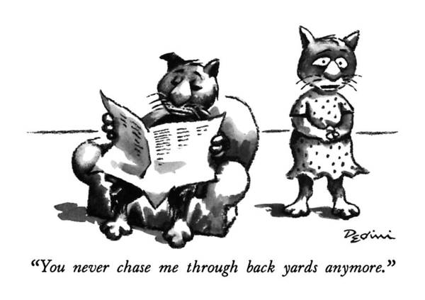 Back Yard Drawing - You Never Chase Me Through Back Yards Anymore by Eldon Dedini