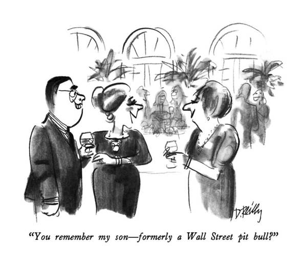 Parties Drawing - You Remember My Son - Formerly A Wall Street Pit by Donald Reilly