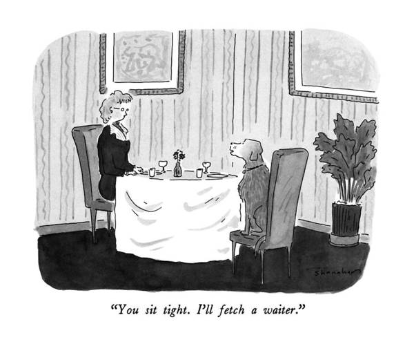 Waiter Drawing - You Sit Tight.  I'll Fetch A Waiter by Danny Shanahan