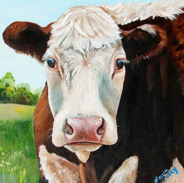Calf Painting - You Talking To Me by Laura Carey