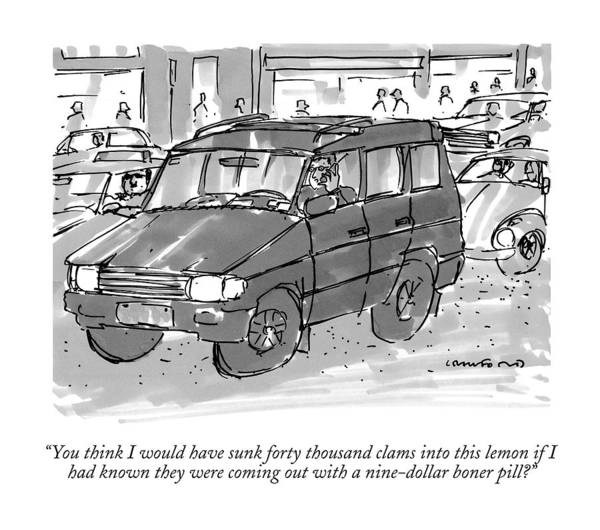 Automobile Drawing - You Think I Would Have Sunk Forty Thousand Clams by Michael Crawford