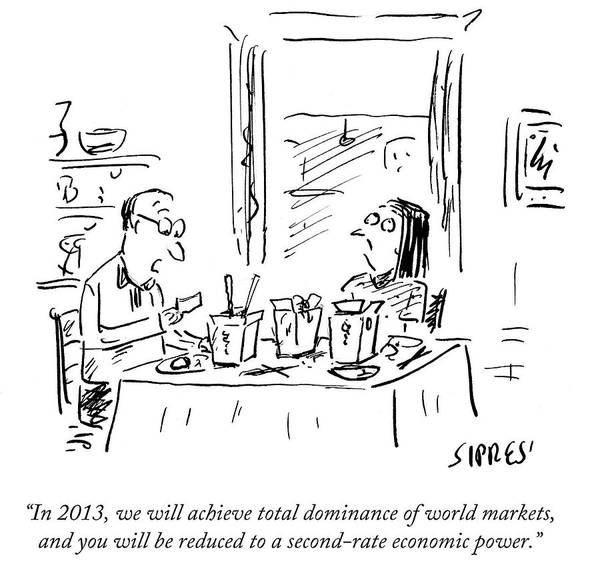 Chinese Food Drawing - You Will Be Reduced To A Second-rate Economic by David Sipress