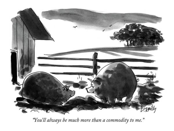 Pig Drawing - You'll Always Be Much More Than A Commodity To Me by Donald Reilly