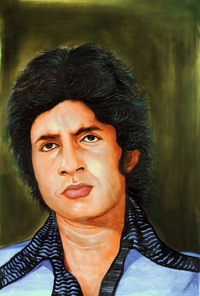 Big Fight Painting - Young Amitabh Bachchan Portrait by Asp Arts