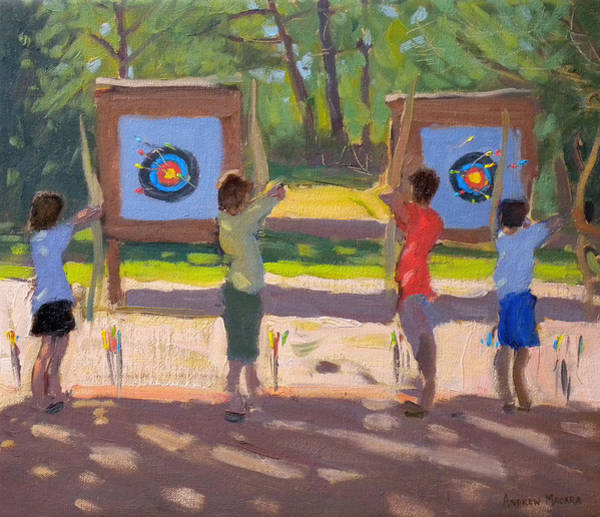 Archery Wall Art - Painting - Young Archers by Andrew Macara