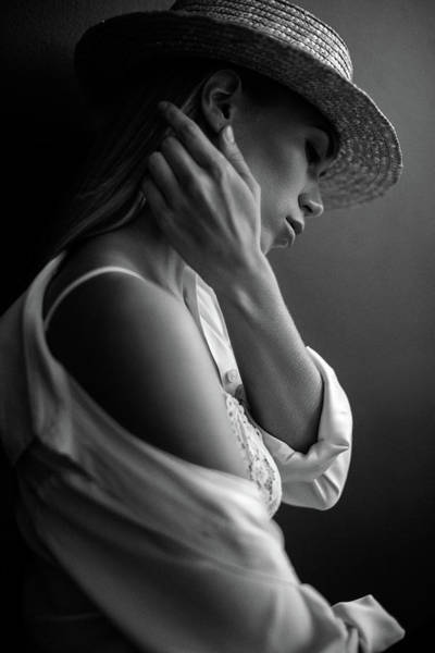 Photograph - Young Beautiful Woman Wearing Black Hat by Coffeeandmilk
