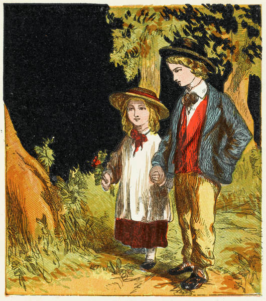 Wall Art - Drawing - Young Boy And Little Sister  Enjoying by Mary Evans Picture Library