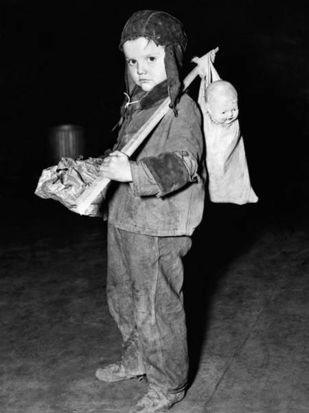 Homeless Photograph - Young Boy Flees Floods by Underwood Archives