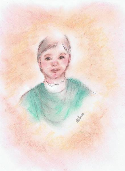 Drawing - Young Boy With A Heart Shaped Aura by Karen Jane Jones