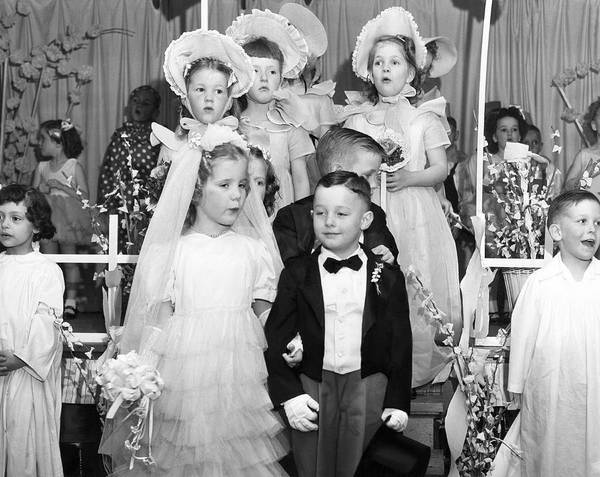 Procession Photograph - Young Children Stage Wedding by Underwood Archives