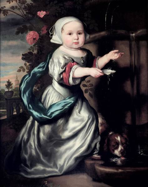 Infant Photograph - Young Girl At A Fountain, 1662 Oil On Canvas by Nicolaes Maes