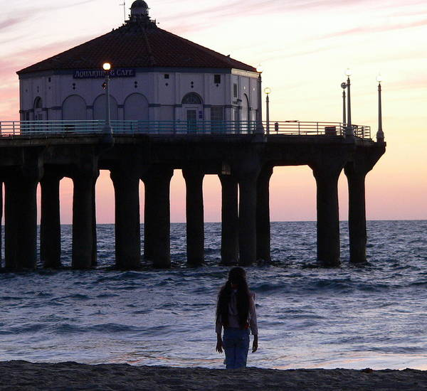 Photograph - Young Girl At Beach Gazing At Sunset by Jeff Lowe