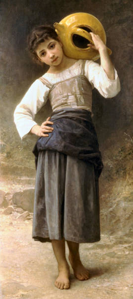 Jug Digital Art - Young Girl Going To The Fountain by William Bouguereau